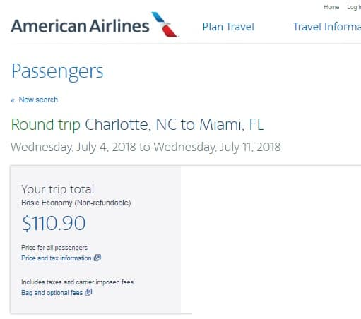 Charlotte to Miami or Vice Versa $111 RT Nonstop on American Airlines (BE) (SUMMER July Aug)