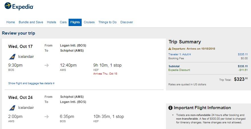 Boston to Amsterdam Netherlands $324 RT Airfare on Icelandair (Limited Travel Oct-Dec)