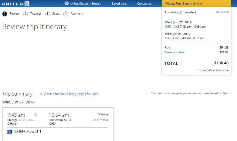 Chicago to Charleston SC or Vice Versa $130 RT Nonstop on United Airlines (BE) (SUMMER June July Aug)