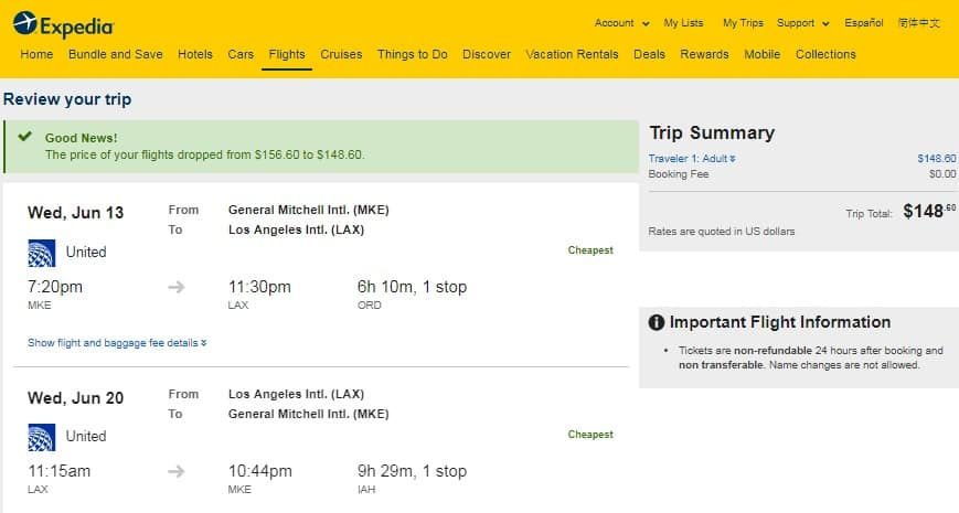 Milwaukee to Los Angeles or Vice Versa $149 RT Airfare on United Airlines BE (Travel Summer June July Aug)