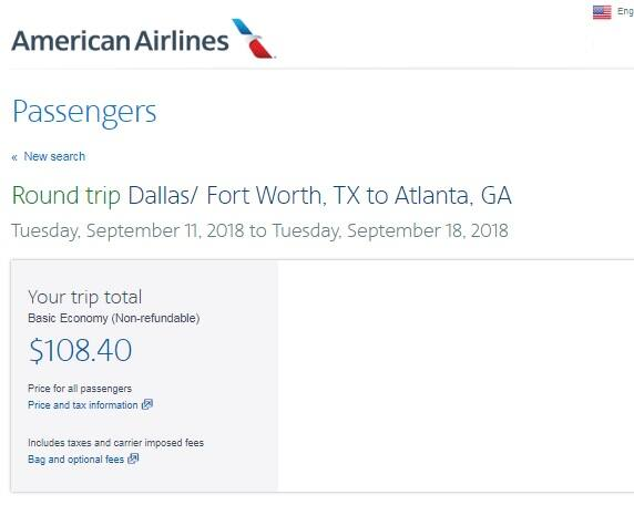 Dallas to Atlanta or Vice Versa $108 RT Nonstop BE or $117 Main Cabin on American Airlines (SUMMER June-Sept)
