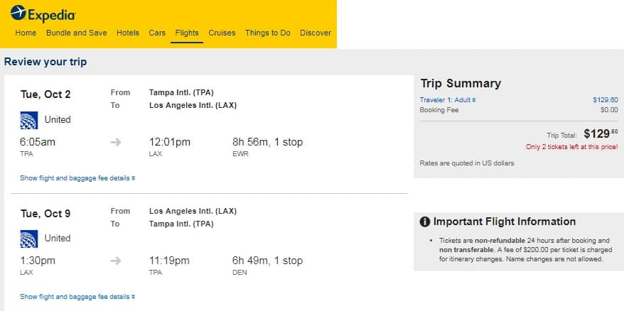 Tampa to Los Angeles or Vice Versa $130 RT Airfare on United Airlines (Limited Travel Aug-Oct)