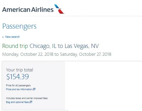 [EXPIRED] Chicago to Las Vegas or Vice Versa $154 RT Nonstop on American Airlines (limited travel Oct)