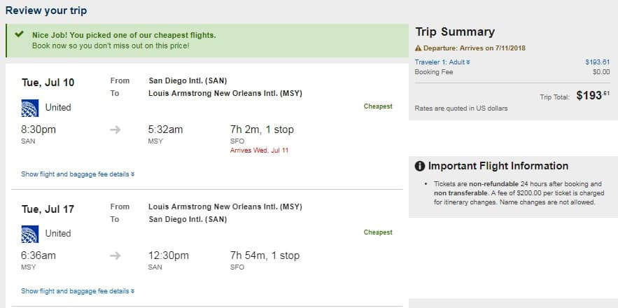 New Orleans to San Diego or Vice Versa $194 RT on United Airlines (SUMMER July-Sept)