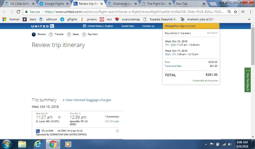 St Louis MO to Aguadilla Puerto Rico $281 RT Airfare on United Airlines (Departs Oct 10, 27 Only)