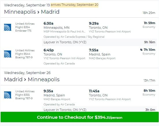 Minneapolis MN to Madrid Spain $394-$400 RT Airfare on United or Air Canada (Travel Sept-Dec)