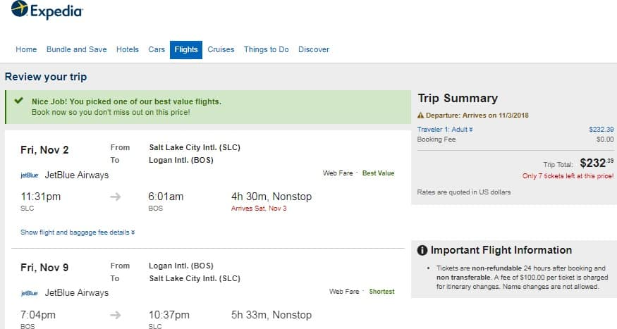 Salt Lake City to Boston or Vice Versa $232 RT Nonstop on JetBlue (travel in July-Dec)