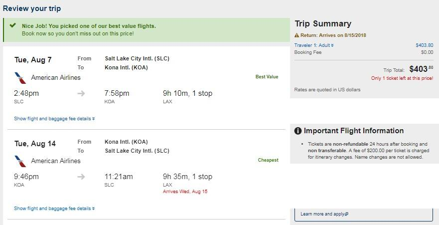 Salt Lake City to Kailua Hawaii $404-$424 RT Airfares on American Airlines (Select Dates Aug-Oct)