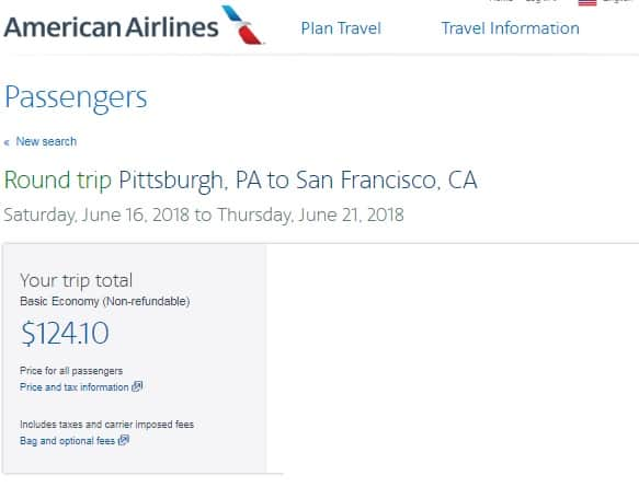Pittsburgh to San Francisco or Vice Versa $124 RT Airfares on American Airlines BE (Travel June-Dec)