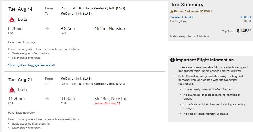 Cincinnati to Las Vegas or Vice Versa $146 RT Nonstop on Delta Airlines BE (Travel July-Sept)