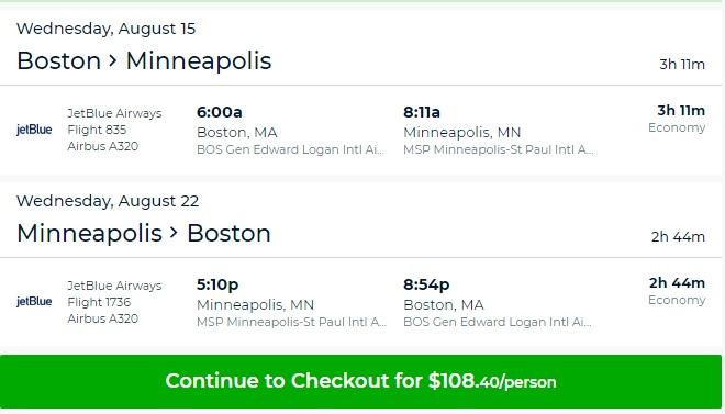 Minneapolis to Boston or Vice Versa $108 RT Nonstop on JetBlue Airways (SUMMER Travel July - Aug)