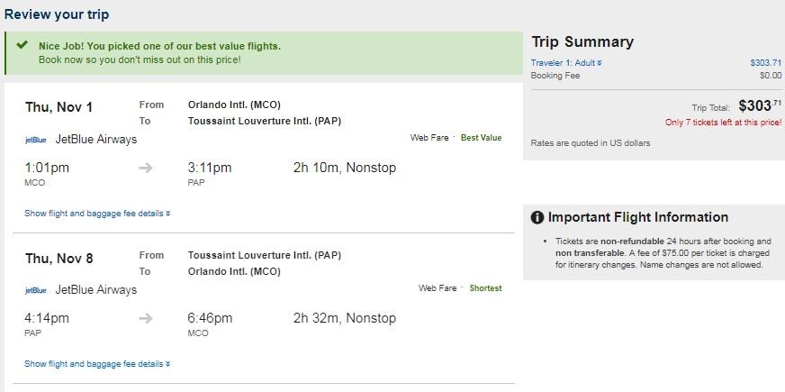 Orlando to Haiti $304 RT Nonstop Airfare on JetBlue (Travel Sept-Nov)