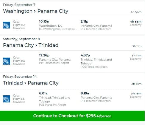 Washington DC to Port of Spain (Trinidad & Tobago) $295 RT Airfare on Copa Airlines (Travel Sept-Nov)