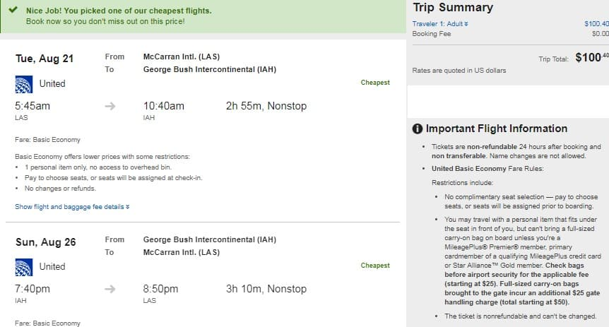 Las Vegas to Houston or Vice Versa $100 RT Nonstop on United Airlines BE (Limited Aug-Sept Dates)