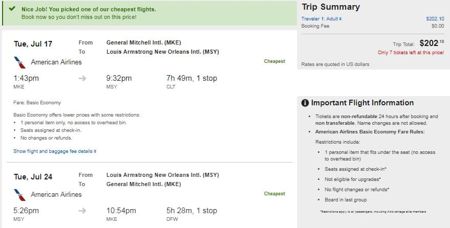 Milwaukee WI to New Orleans or Vice Versa $201-$204 RT Airfares on Delta or American BE (Travel July-Sept)