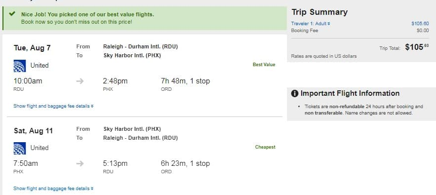 Raleigh NC to Phoenix or Vice Versa $105 RT Nonstop on United Airlines (Limited Travel July-Oct)