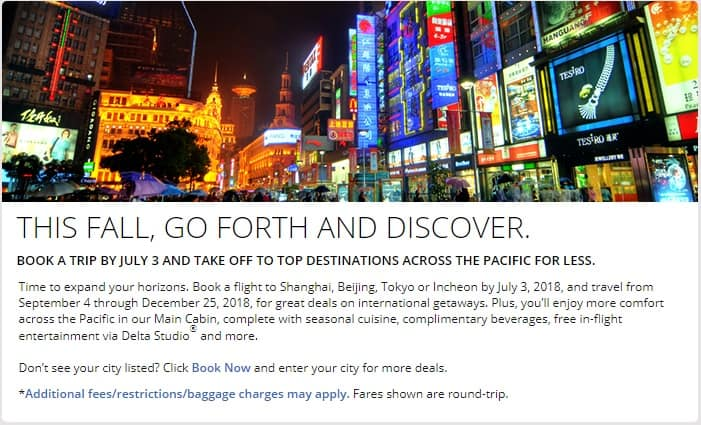 Delta Airlines SkyMiles Flash Sale - Fall Pacific Sale Starting From 40K Miles RT - Book by July 3