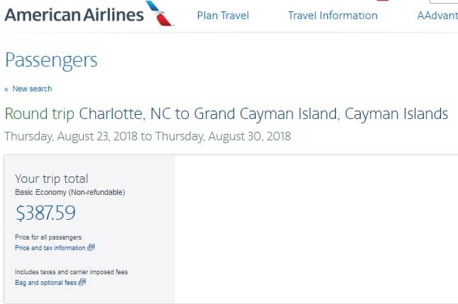 Charlotte NC to Cayman Islands $388 RT Nonstop on American Airlines BE (Travel Sept-Oct)