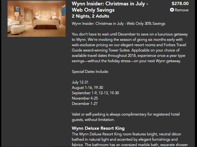 Wynn Las Vegas Christmas In July Web-Only Savings Starting $139 Per Nt For Wynn Deluxe Resort King