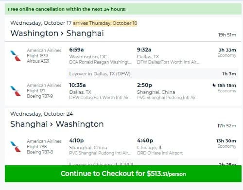 Washington DC to Shanghai China $514 RT AIrfares on American Airlines (travel Oct-Dec 2018)