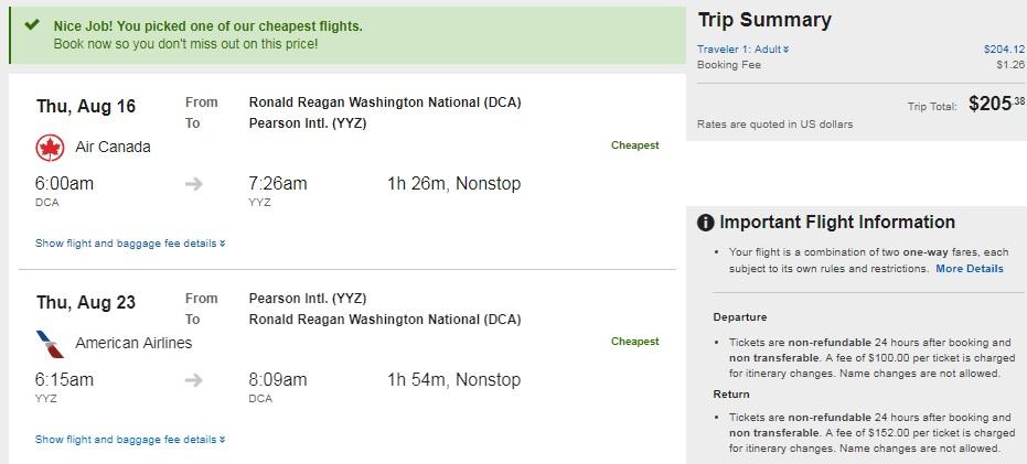 Washington DC to Toronto Canada $206 RT Nonstop Airfares (Travel Aug-Dec)