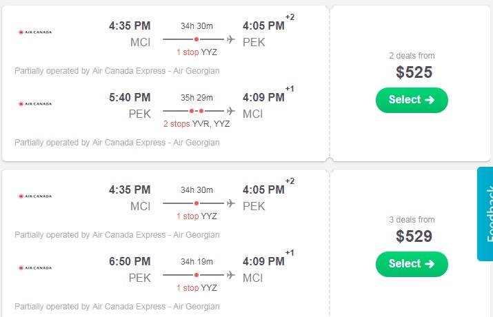 Kansas City to Shanghai China $525-$553 RT Airfares (Travel Aug-Dec)