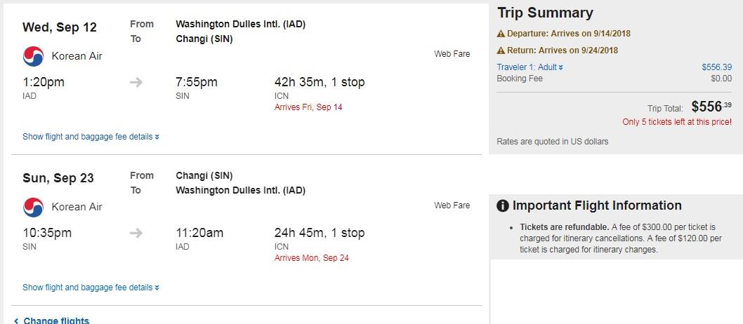 Washington DC to Singapore $556 RT on Korean Air (Departs Sept 11, 12 or Nov 13)