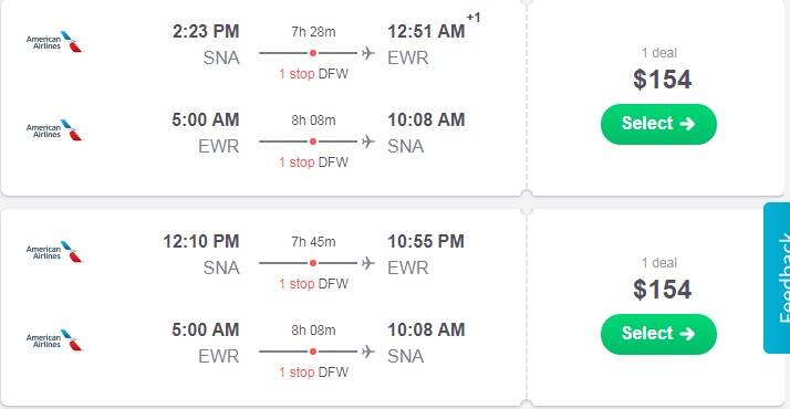 Santa Ana CA to New York / New Jersey or Vice Versa $154 RT on American Airlines BE (Limited Travel Sept-April)