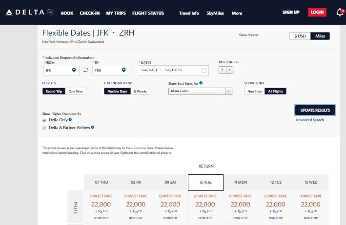 Delta Skymiles RT New York to Zurich Switzerland for 22k Miles Plus $57 Fees