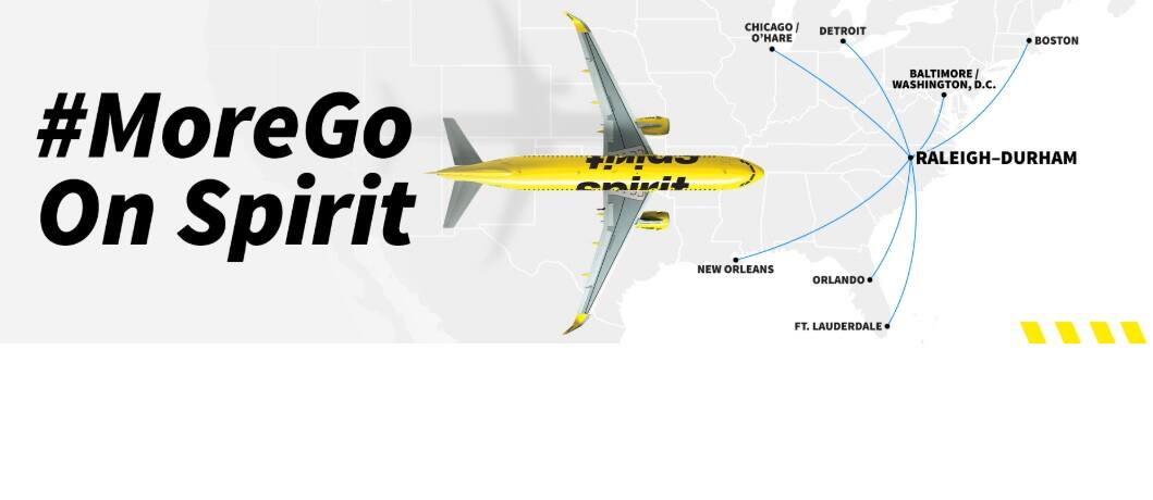 Raleigh NC to 7 New Destinations on Spirit Airlines with OW Airfares As Low As $52