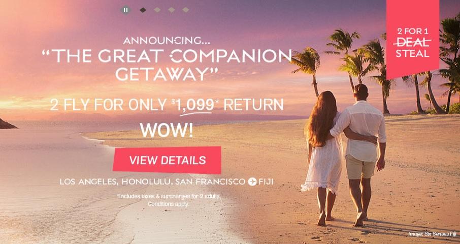 Fiji Airways Great Companion Airfare Lax Sfo Hnl To 550 Rt Per Person