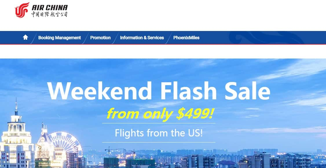 Air China Weekend Flash Sale - Economy From $499 or Business Class From $1999 From US Cities to Asia - Book by April 21, 2019