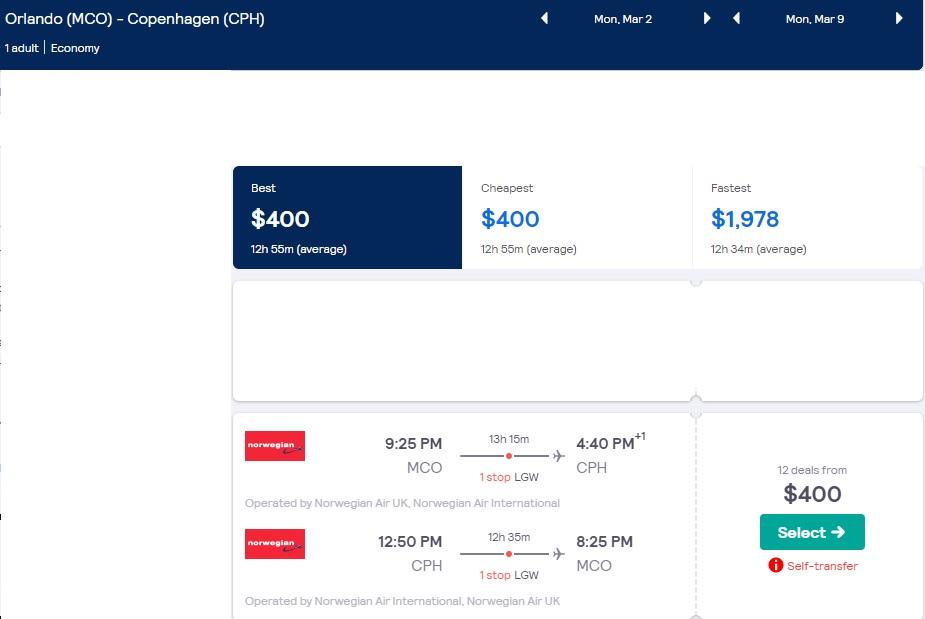 Orlando to Copenhagen Denmark $400 RT Airfares on Norwegian Air (Limited Travel January & March 2020)