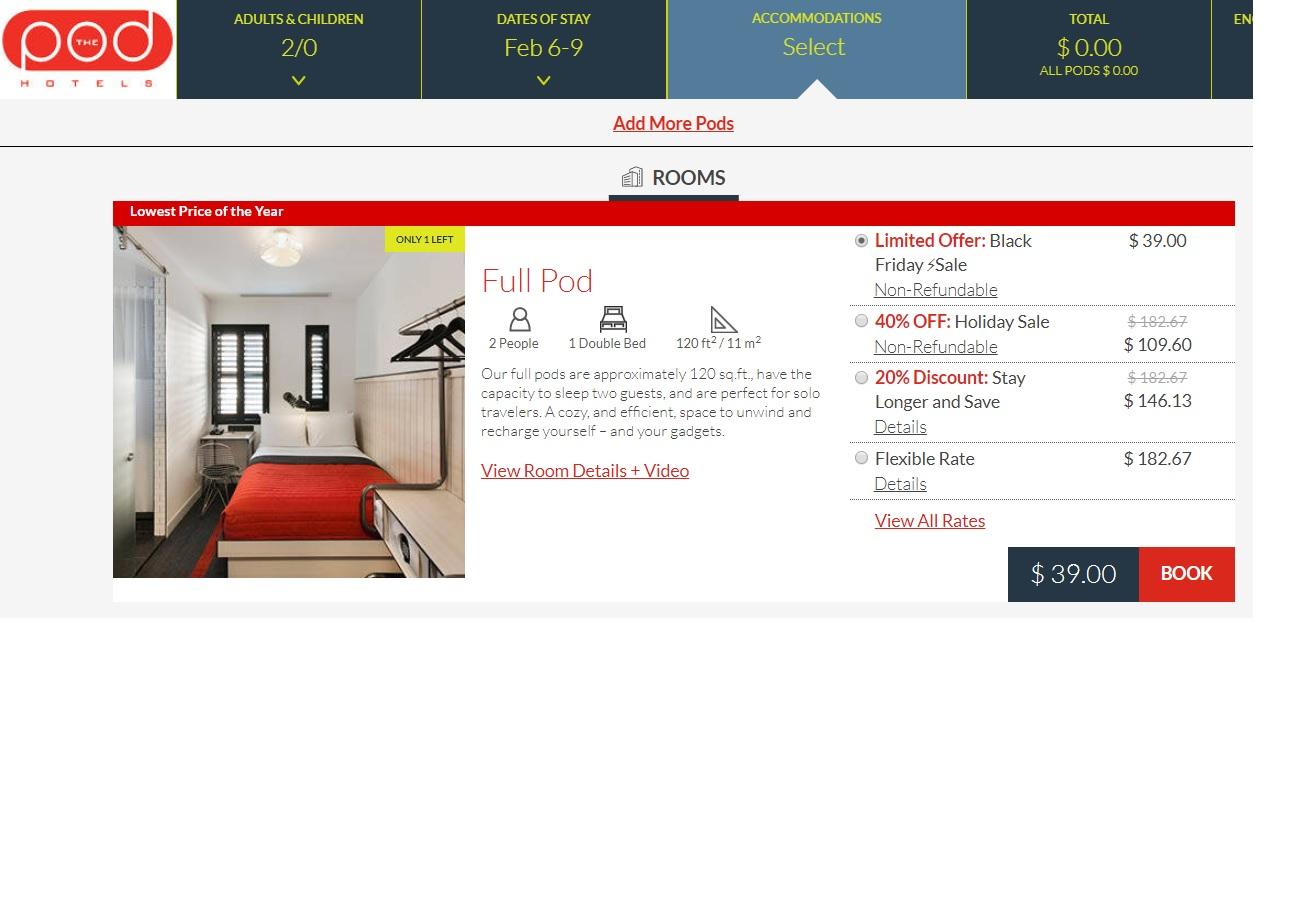 [New York City & Washington DC] The POD Hotel Black Friday / Cyber Monday Rates From $39 Per Night