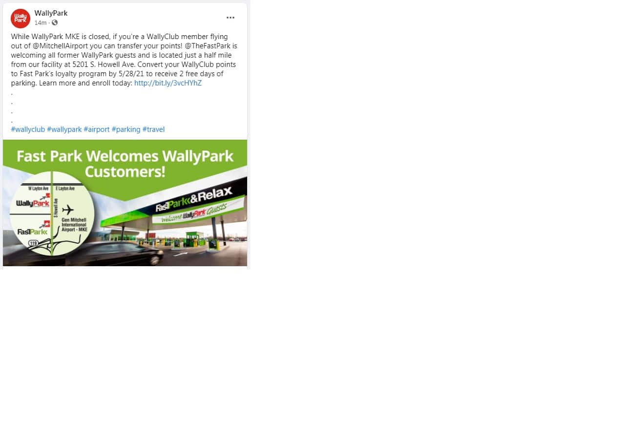 [Airport Parking MKE] Fast Park Welcomes WallyPark Customers With 2 Free Days of Parking - By May 28, 2021