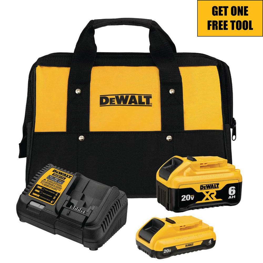 DEWALT 20-Volt MAX XR Lithium-Ion Starter Kit with (1) 6.0Ah Battery, (1) 4.0Ah Battery, Charger and Kit Bag-DCB246CK - The Home Depot $199