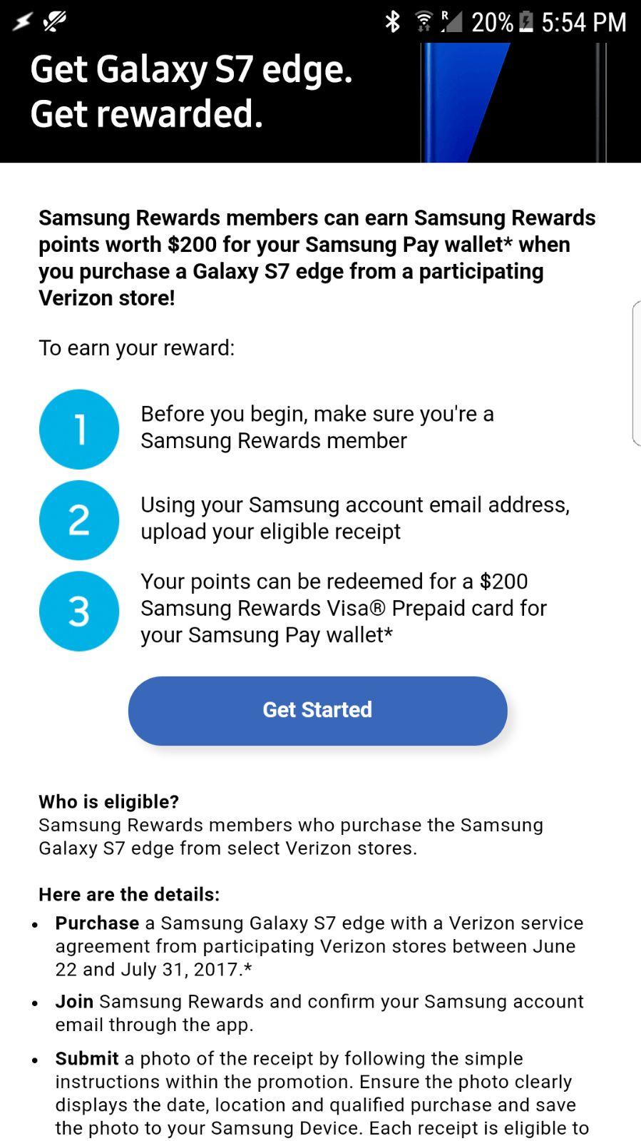 S7 Edge Verizon Store - Get $200 in Samsung Rewards card - YMMV