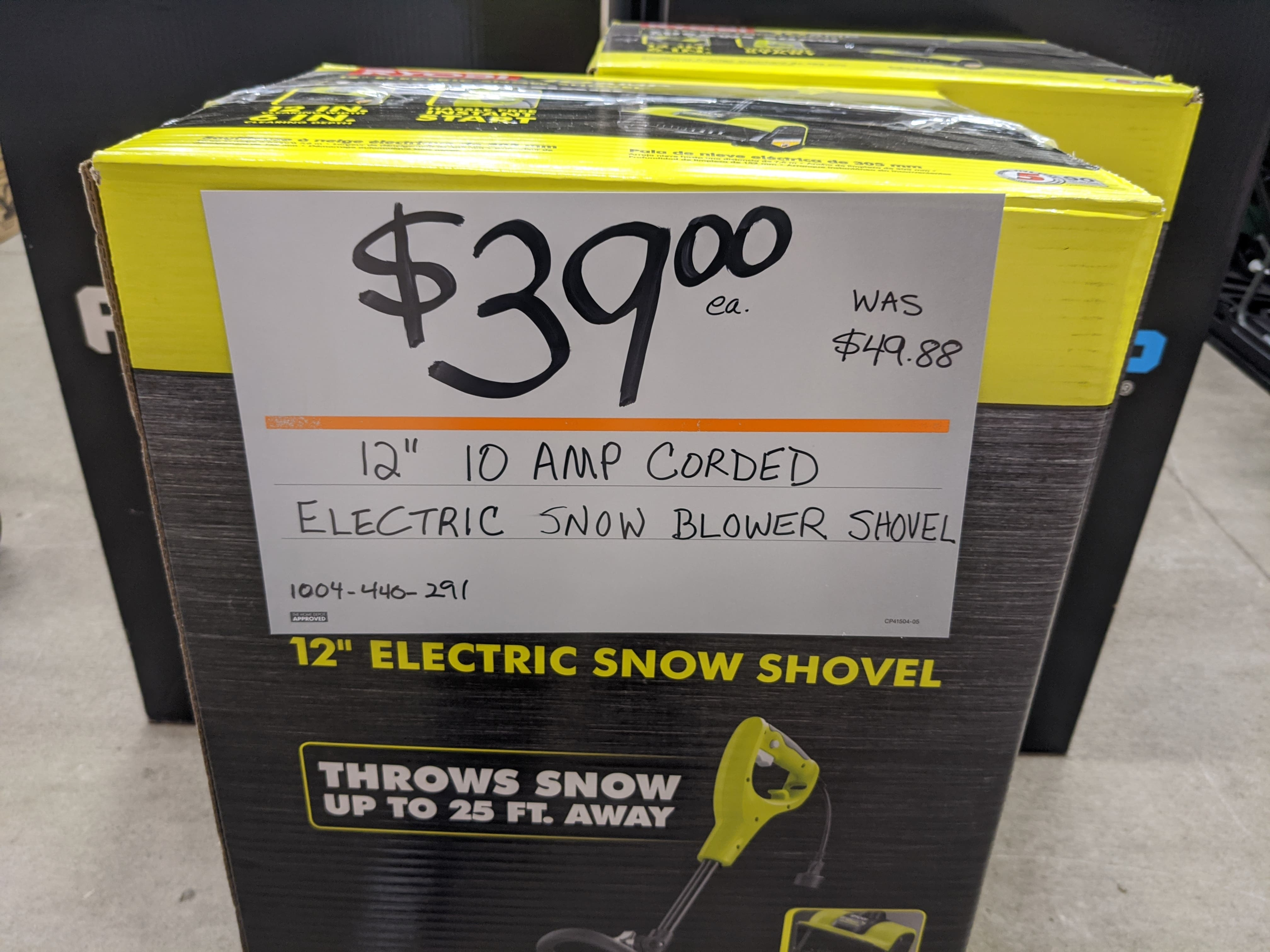 RYOBI 12 in. 10 Amp Corded Electric Snow Blower Shovel $39.00 * In-store  only *  YMMV