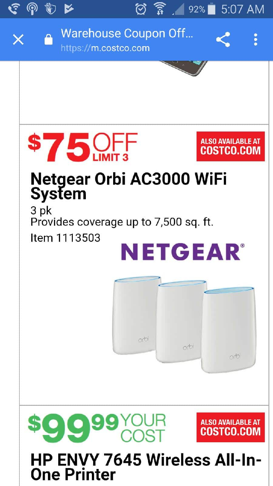 Netgear ORBI AC3000 Tri band router 3 pack $425 AC Costo Valid 6/1-6