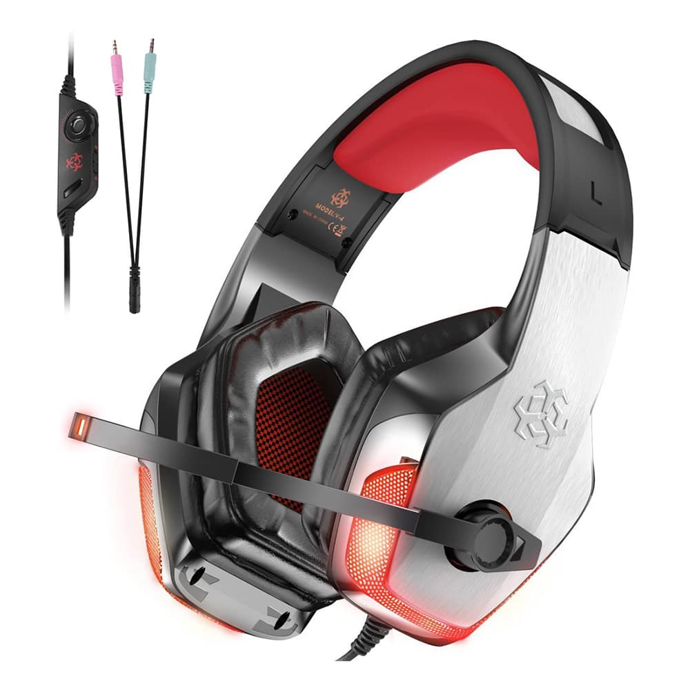 Gaming Headphones with Mic, LED Light Bass Surround Noise Cancelling red/blue $13.99