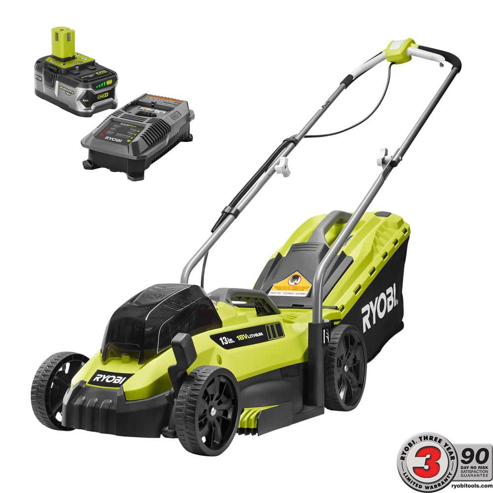 Ryobi 13 in. ONE+ 18-Volt Lithium-Ion Cordless Battery Lawn Mower - 4.0 Ah Battery and Charger Included $149