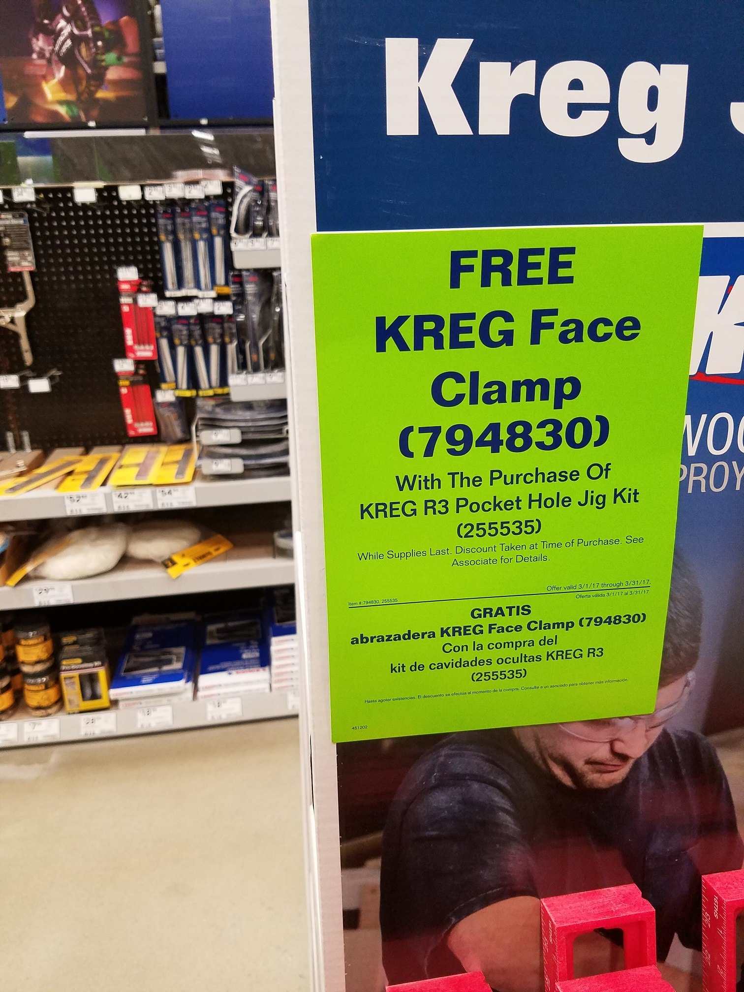 Kreg R3 Pocket Hole System + Kreg 2'' Micro Face Clamp $39 @ Lowes in-store