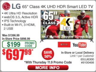 "LG 65"" UJ6300 Series 4K HDR Smart LED TV - $698 W/one day code"