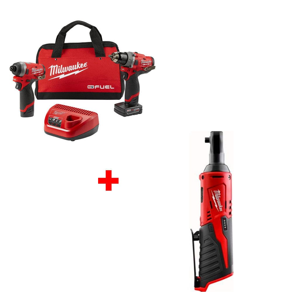 Milwaukee 2598-22 M12 FUEL 2-Tool Combo Kit with FREE RATCHET $199 by authorized seller plus 10% ebay bucks.