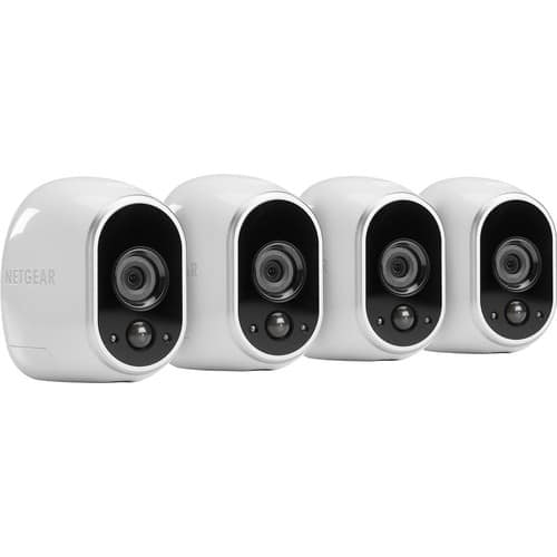 NETGEAR - Arlo Smart Home Indoor/Outdoor Wireless High-Definition Security Cameras (4-Pack) - White/Black $299