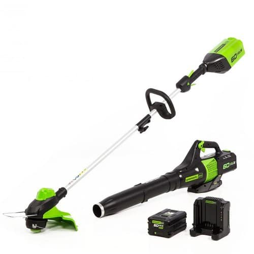 Greenworks Pro GW 60-V String Trimmer/Blower Combo Kit with (1) 2 Ah Battery, Charger $199