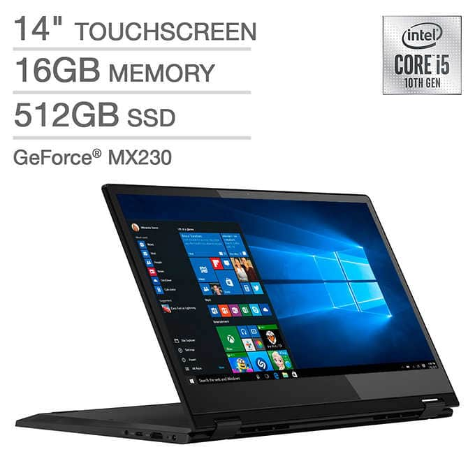 Lenovo Flex 14in., 2-in-1 Touchscreen, Core i5-10210U, 16GB DDR4, 512GB SSD, 2GB Nvidia GeForce MX230, FHD - $649.99, Costco