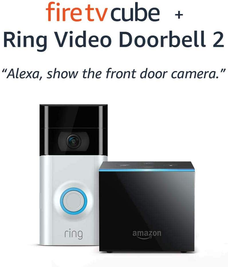 Fire TV Cube bundle with Ring Video Doorbell 2 $218.99