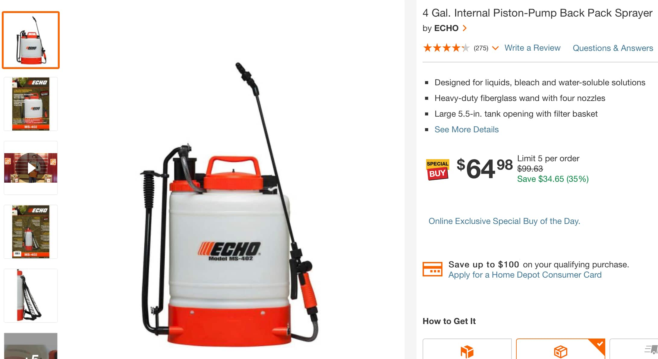 Echo 4 Gallon Back Pack Sprayer on sale $64.98 @ the Home Depot