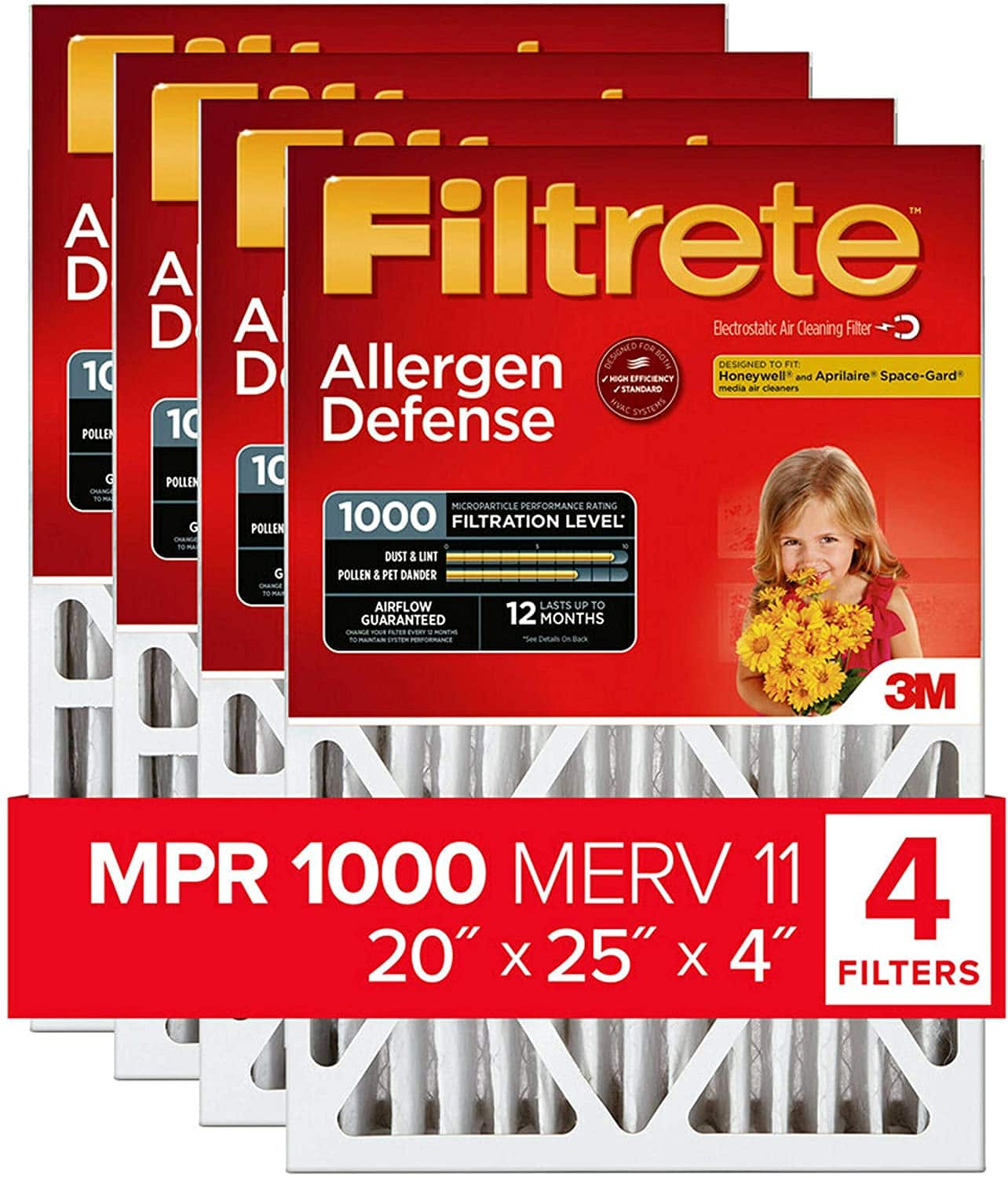 Filtrete 20x25x4, AC Furnace Air Filter, MPR 1000 DP, Micro Allergen Defense Deep Pleat, 4-Pack $72 or 2-Pack $36 (exact dimensions 19.88 x 24.63 x 4.2) Amazon S&S